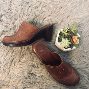 NURTURE Brown Mules Leather Boho Shoes Size 8 1/2